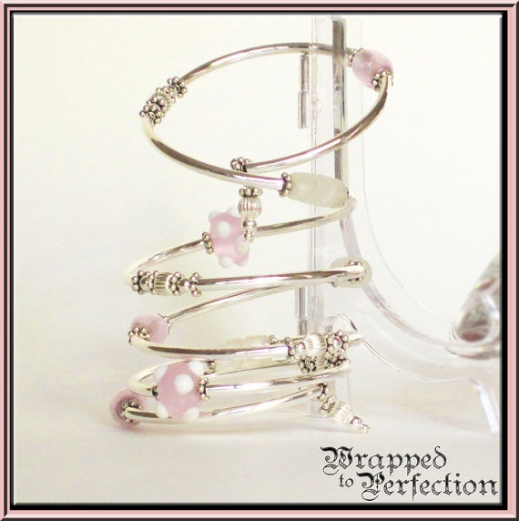 Pink White & Sterling Silver Bracelet and by WrappedToPerfection, $70.00