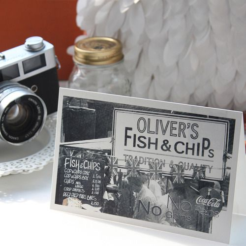 Photo sketch message card - Fish & chiPs