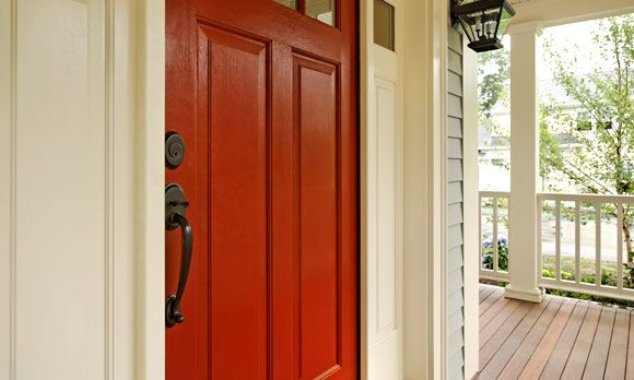 Painted front door...I'm going to paint ours Red!! :): Red Doors, Feng Shui, Paint Front Doors, Paintings Doors, Front Doors Colors, Front Door Colors, David Papazian Getty, Red Front Doors, Paintings Front