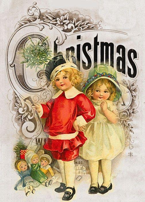 """""""CHRISTMAS """".... Vintage Christmas postcard ."""