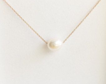 Freshwater Pearl Choker Necklace Floating White by livjewellery