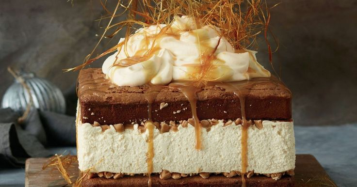 Layers of double chocolate brownie, salted caramel cheesecake and wisps of spun toffee combine to make the ultimate dessert. You will need to start this recipe a day in advance.