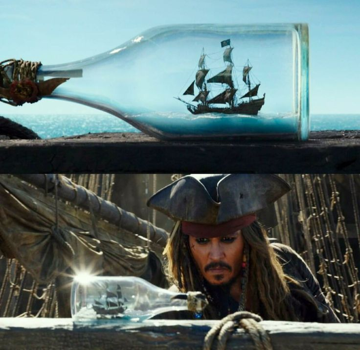 The Black Pearl in a bottle? Why is the Pearl in a bottle?!>> Watch the 4th movie and you'll know