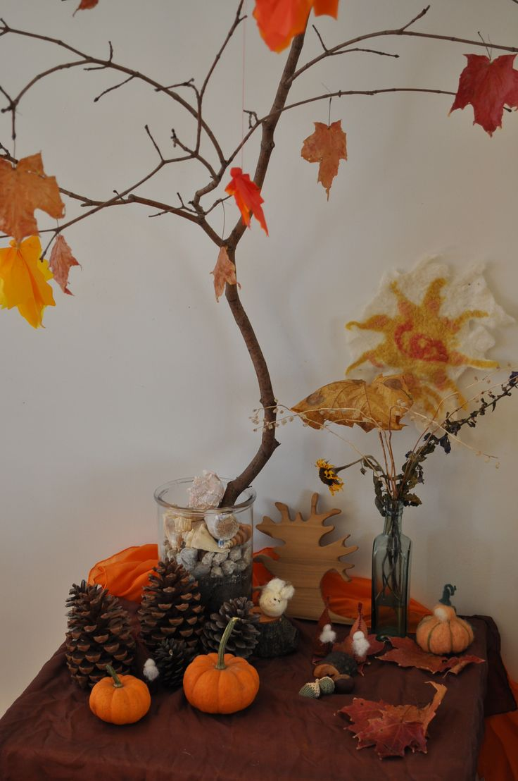 Autumn Nature table from hands follow heart