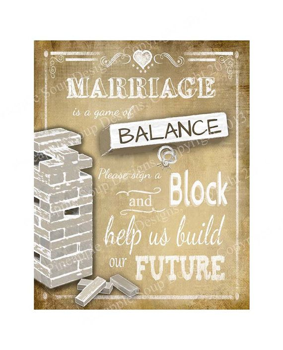 Jenga Wedding Sign  Print instantly after purchase by PSPrintables, $3.00