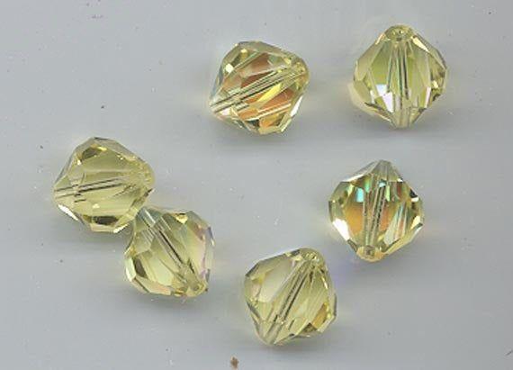 Six vintage Swarovski crystal beads: Art. 5304 - 12 mm - jonquil AB