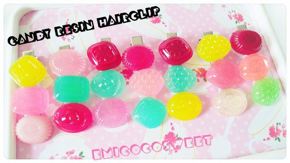 Candy hair clipPastel candy Hair clipsResin by emicocosweet