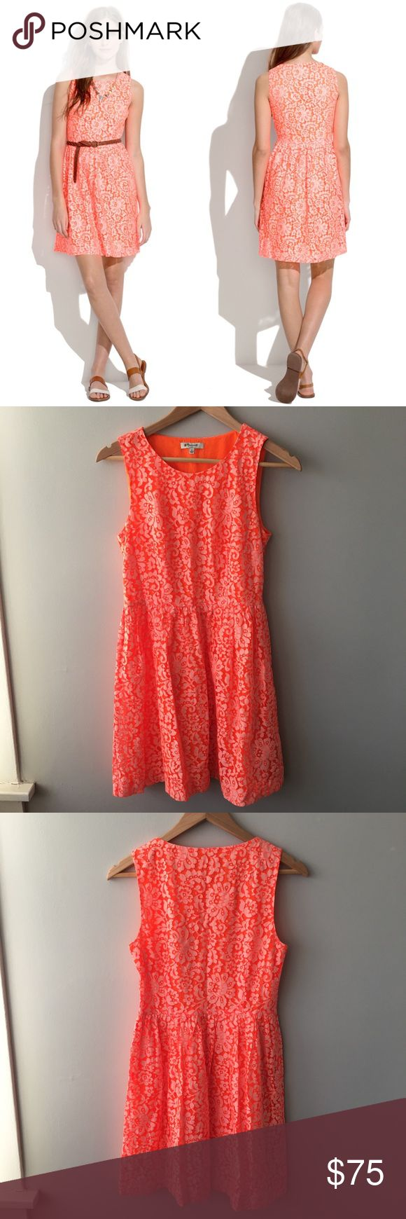 "Madewell Lace Blossom Dress A super-flattering silhouette with a feminine full skirt blooms in lace.  ·         Fitted at waist.  ·         Falls 35 1/2"" from shoulder.  ·         51% Nylon/49% cotton.  ·         Dry clean.  ·         Item 43362  Pretty, bright orange color - almost neon. Worn once and dry cleaned – no stains, holes, or pilling – only a small marker spot on the inner tag. Excellent, pre-owned condition. Bundle & save 💰! Sorry - 🚫 trades! Madewell Dresses"