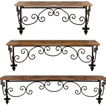 Three-piece wall shelf set in iron and wood with fleur-de-lis accents and scrolling detail.Product: Small, medium and large wall ...