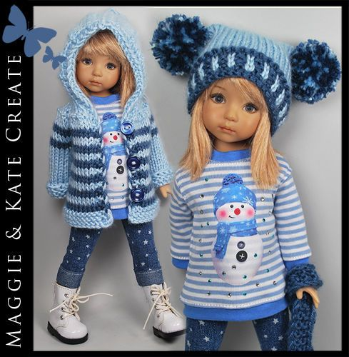 """* Blue Winter * Outfit for Little Darlings Effner 13"""" by Maggie & Kate Create"""