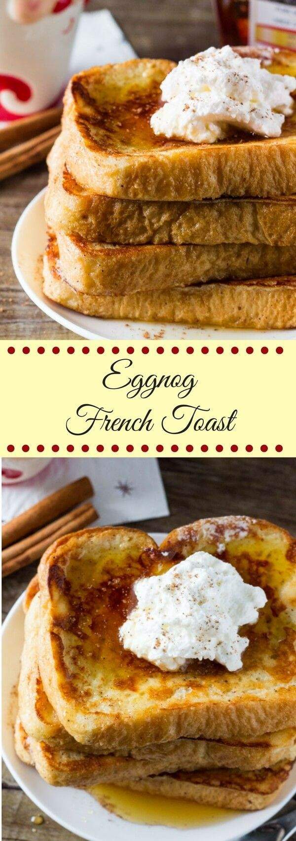 Eggnog French Toast is fluffy & soft with golden edges, a hint of nutmeg and delicious eggnog flavor. The perfect easy Christmas breakfast.