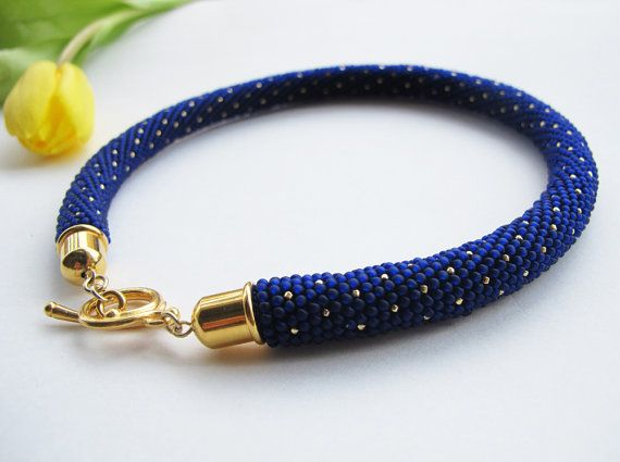 Beaded crochet necklace, beadwork, gold, blue, elegant, unique, boho, gift for her, women, gifts, polka dot, pretty, bridal, wedding