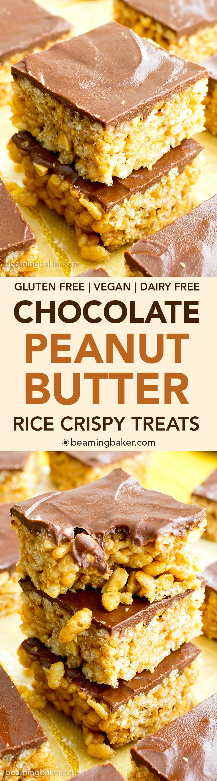 Chocolate Peanut Butter Rice Crispy Treats (V, GF, DF): an easy 5 ingredient recipe for chocolate-topped PB rice crispy treats that taste like peanut butter cups. #Vegan #GlutenFree #DairyFree | BeamingBaker.com