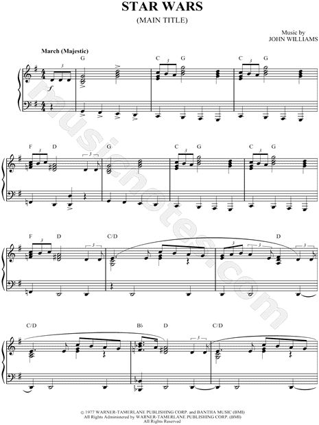 """Sheet Music: """"Star Wars.""""  I'm sure one of my students will want this one day."""