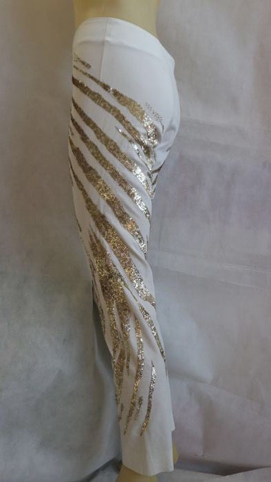 Roberto Cavalli - pantaloni con inserto paillettes effetto fiamme
