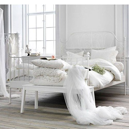 Amazon.com: Ikea Leirvik Bed Frame White Full Size Iron Metal Country Style Bedroom