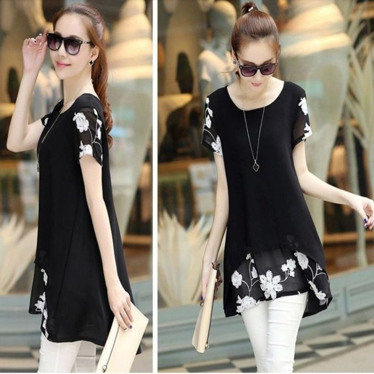 This tunic tops will never fail to stun you with its unique design. Design to have a flowing silhouette, floral pattern and short sleeves. Made of chiffon and polyester materials. This top is lightwei