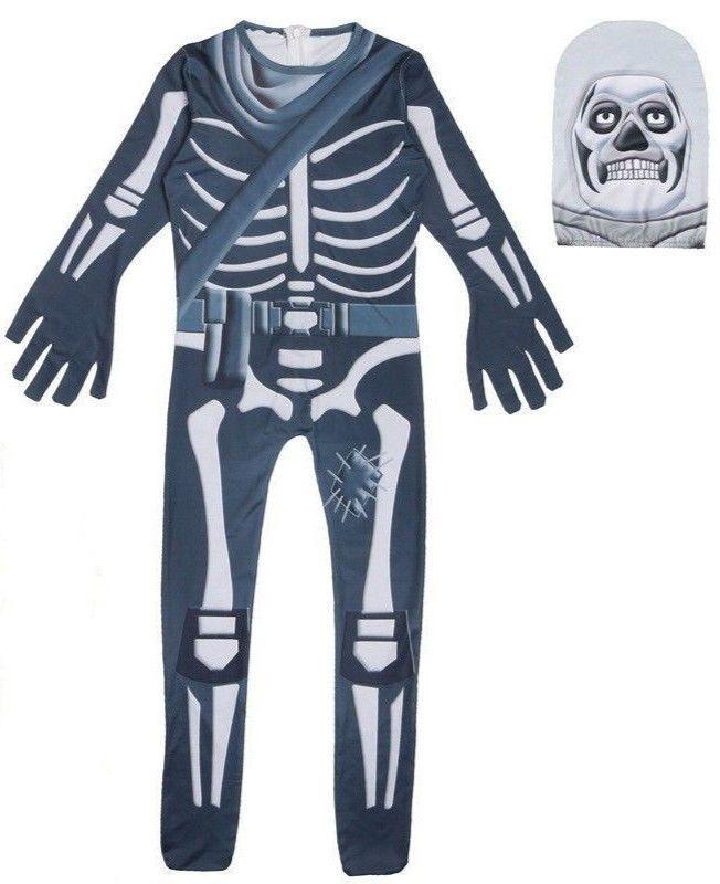 Cosplay Game  Fortnite Skull Trooper Costume Halloween Zentai Jumpsuit  Bodysuit c620df8e1658