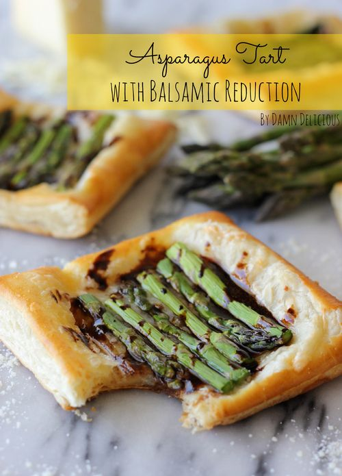 Asparagus Tart with Balsamic Reduction by Damn Delicious ~ Puff pastry tart appetizer with Gruyere cheese and balsamic reduction. Fast & easy!