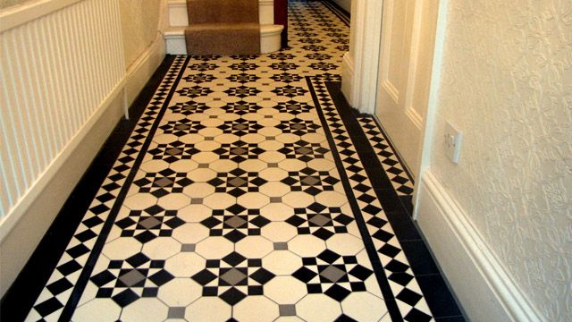 Victorian style black and white tiles tiles pinterest for Tiled hallway floor ideas