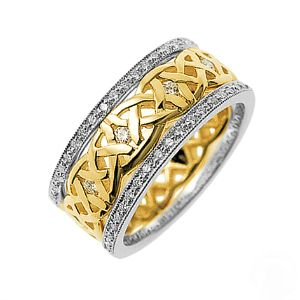 Our Dreams Diamond set Celtic ring, shown here in reverse 18ct white gold and 18ct yellow gold