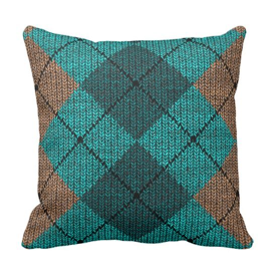 Teal And Orange Decorative Pillows : Turquoise Teal Orange Faux Knitted Yarn Pattern Throw Pillows Decor Pillows For Guys Rooms ...