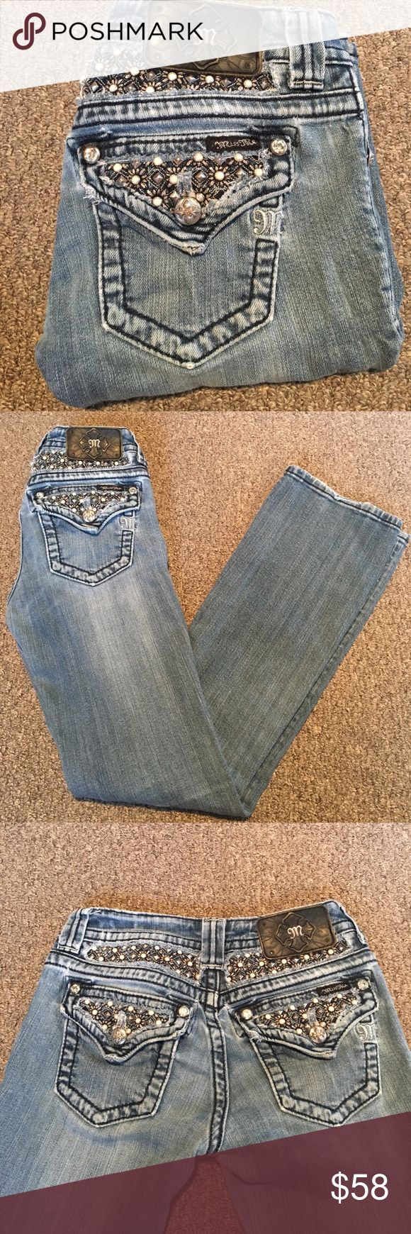 DAISY STUDDED MISS MES Gently used condition. No major flaws with lots of life left. Unique daisy pattern with white stones & studs. Miss Me Jeans Boot Cut