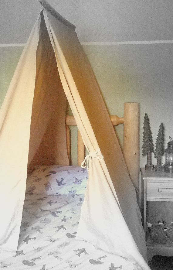 Twin Size Bed Tent - Custom Teepee Canopy for Boys or Girls Bedroom - Kids Room Play Tents Design - Cottage Camping Lodge Decor Handmade