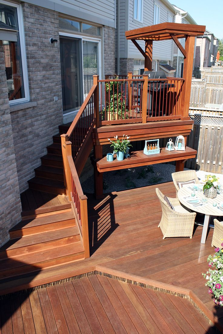 Bamboo gazebo deck plans - We Created A Multi Level Deck In Exotic Red Balau Hardwood With Bamboo Accents