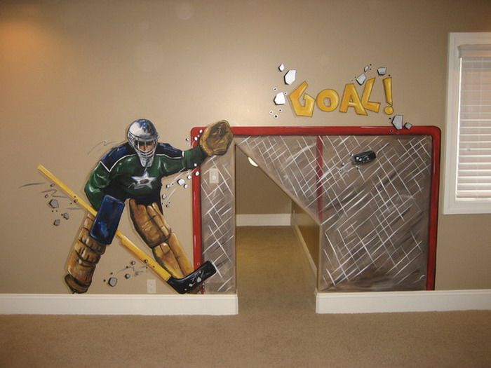 20 best hockey mural images on pinterest wall decals for Kids hockey room