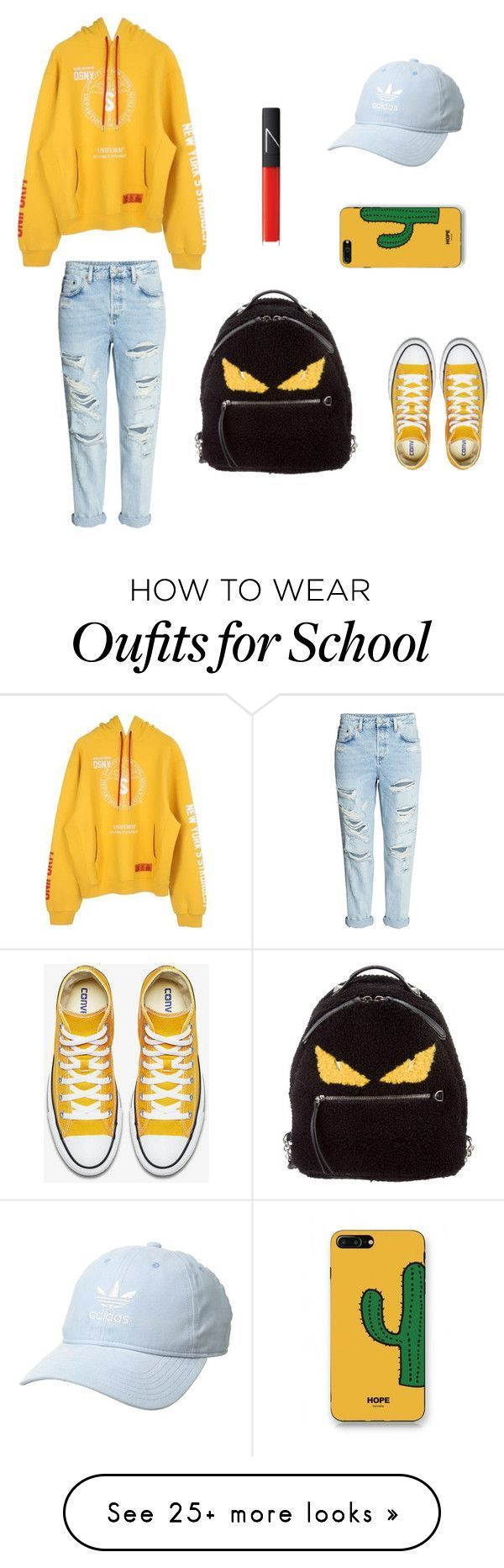 """Back to school "" by lisaachan on Polyvore featuring Heron Preston, Fendi, WithChic, adidas Originals, NARS Cosmetics, outfit, ootd and fashionable #schooloutfits #rippedjeanswomenclothing"