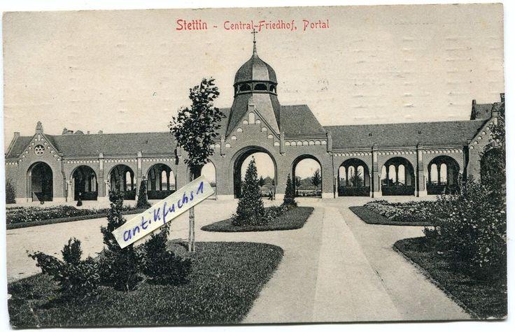Postkarte von 1909 : Stettin in Pommern , Central-Friedhof , Portal