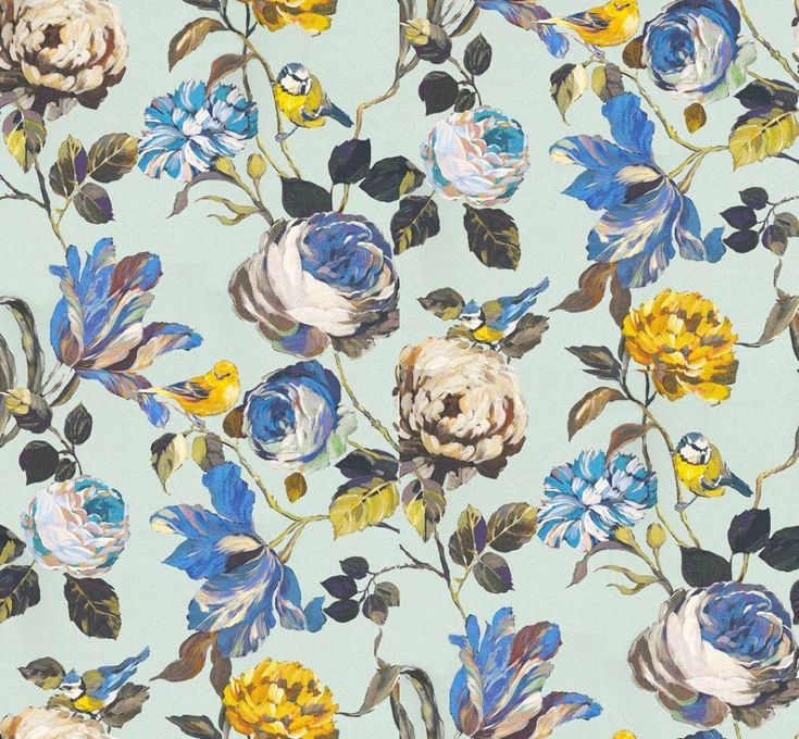 English Garden Porcelain (1806/047) - Prestigious Wallpapers - A bold floral trail with flamboyant flowers and cute garden birds. Shown here in blues, greens, browns and yellow on a pale blue background. Other colourways are available. Please request a sample for a true colour match. Wide width product. Paste-the-wall product. Pattern repeat is 126.97cm.