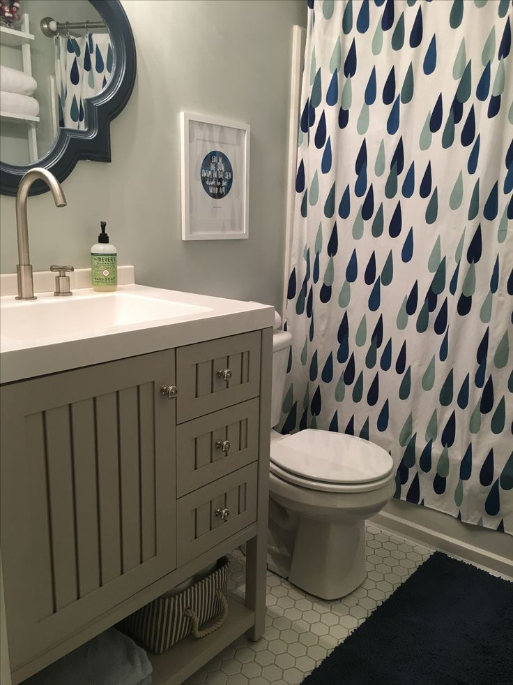 bathroom designed around a crate and barrel marimekko shower curtain marimekko
