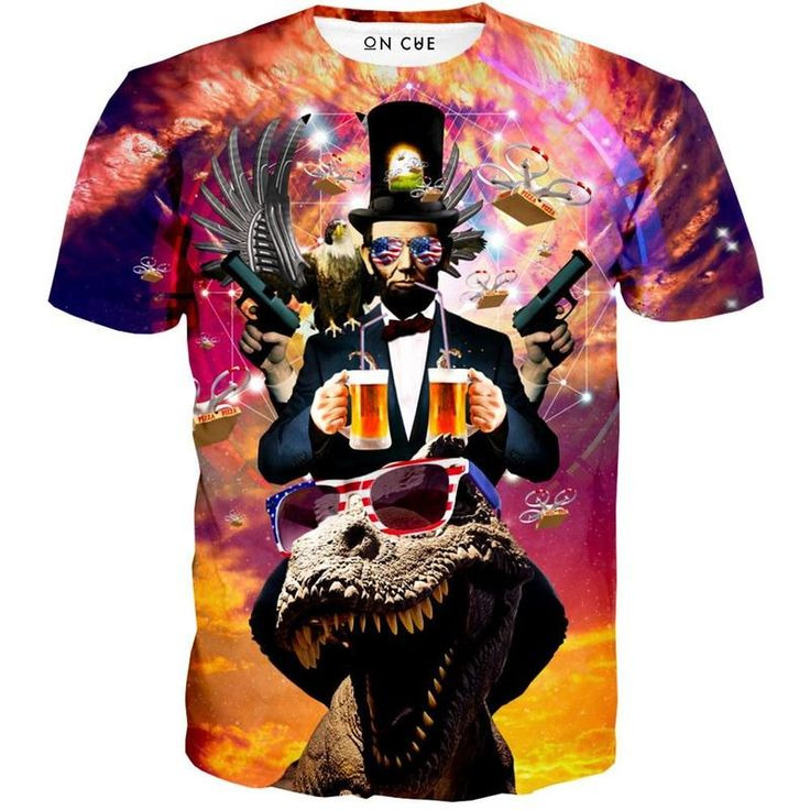 Abraham Lincoln Merica T Shirt. Let's go through what is featured on this shirt. Of course, Abe Lincoln, one of the greatest presidents ever. Two-fisted beer drinking through straws. American flag. Mirrored sunglasses. T Rex. Eagle. Pizza drones flying out of the stovepipe hat. An amazing sunset colored background.   #AbeLincoln #Americanflag #beer #dinosaur #gun #sunglasses