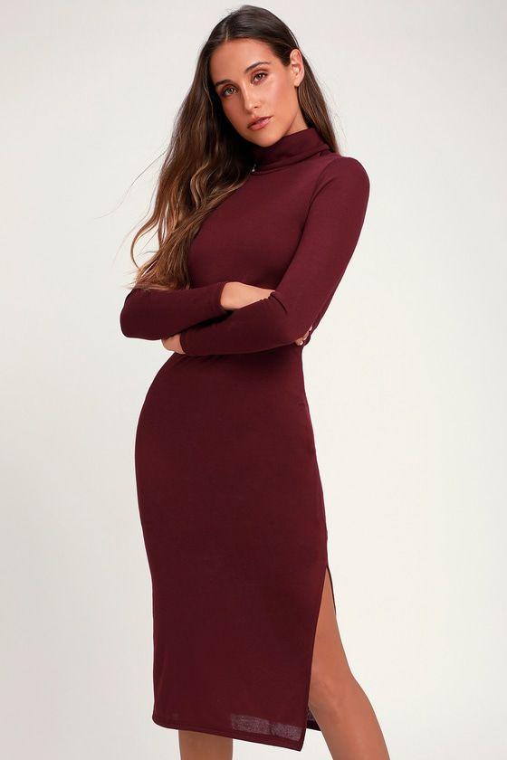 370df9a177c The Lulus Crescio Burgundy Turtleneck Midi Sweater Dress is so cozy