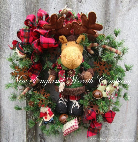 Christmas Wreath, Holiday Wreath, Whimsical Christmas, Moose, Reindeer, Jingle Bells, Lodge Look, Country Christmas