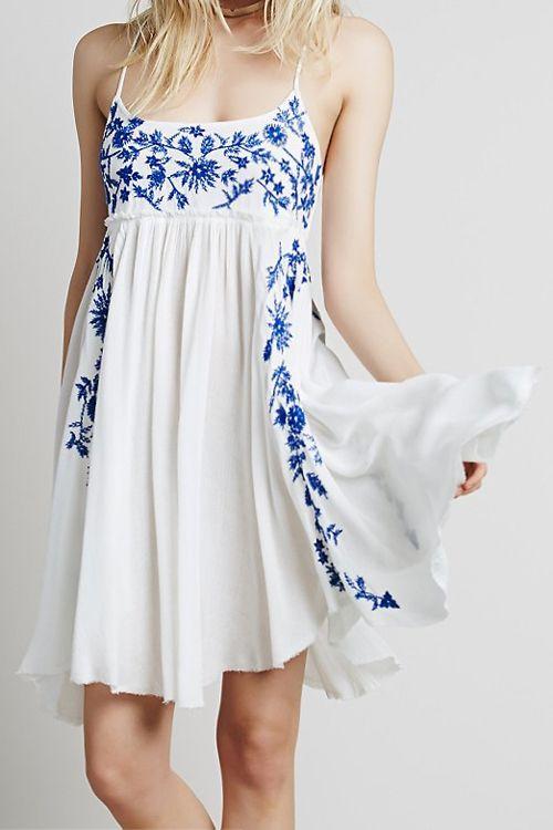 Bohemian Embroidery Strap Dress