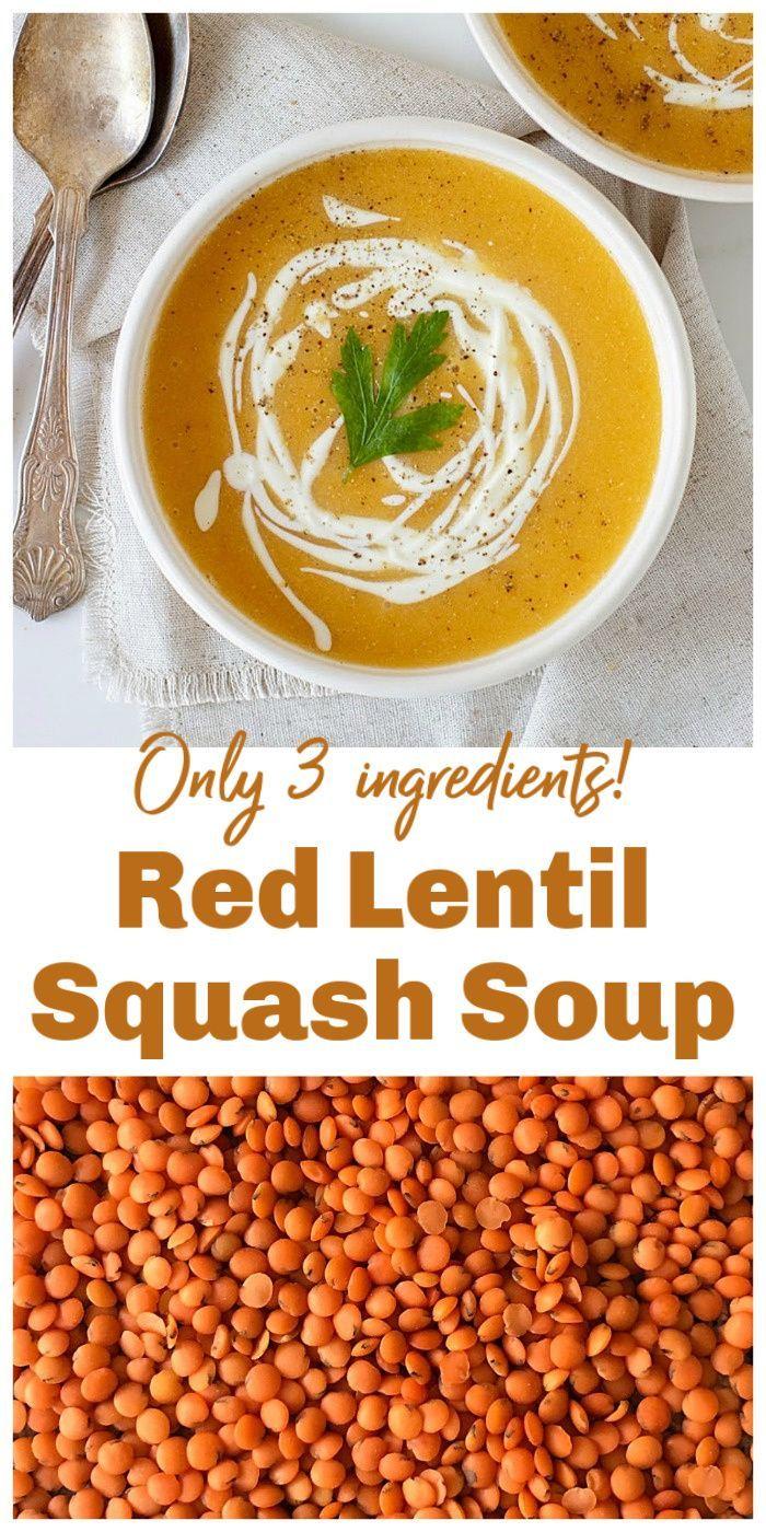 Vegan Red Lentil Soup Only 3 Ingredients Recipe Healthy Snacks Recipes Red Lentil Soup Lentil Soup