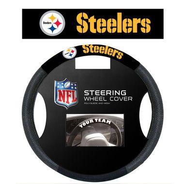 Pittsburgh Steelers Black Poly-Suede & Mesh Steering Wheel Cover
