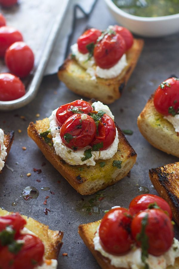 Grilled Baguette with Homemade Ricotta, Burst Cherry Tomatoes, and Chimichurri - Cooking for Keeps