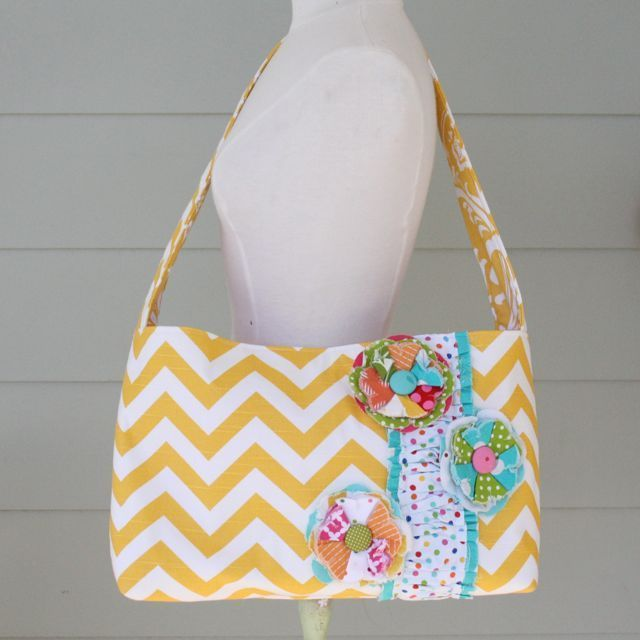 messenger bag - yellow chevron 2, $85.00 by the pleated poppy