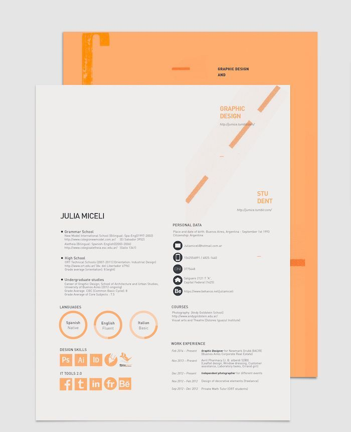 15 Resume Design Tips Templates Examples Include Direct Links To Your Social Media Platforms Graphic Design Resume Resume Design Creative Resume Design