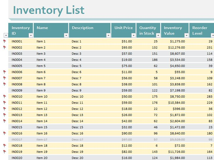 Inventory list Templates Printables