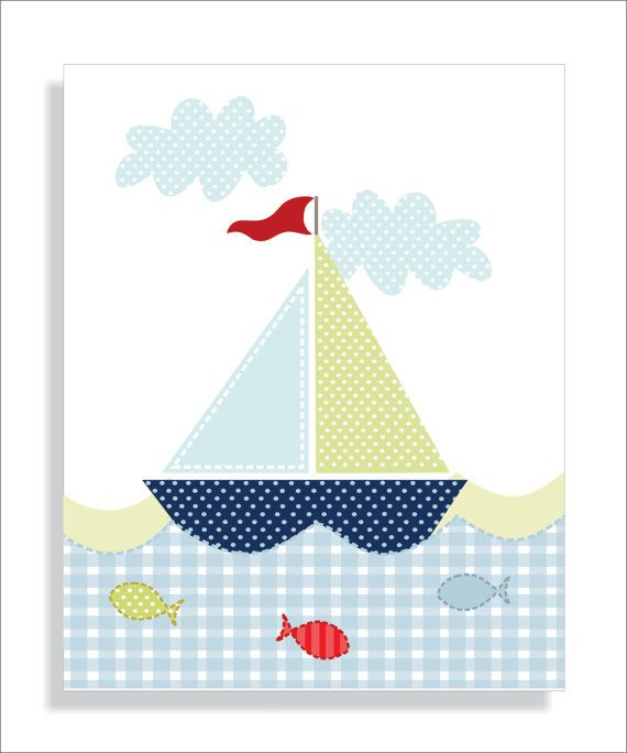 Whale Lighthouse and Sailboat Childrens Art by FieldandFlower, $24.00