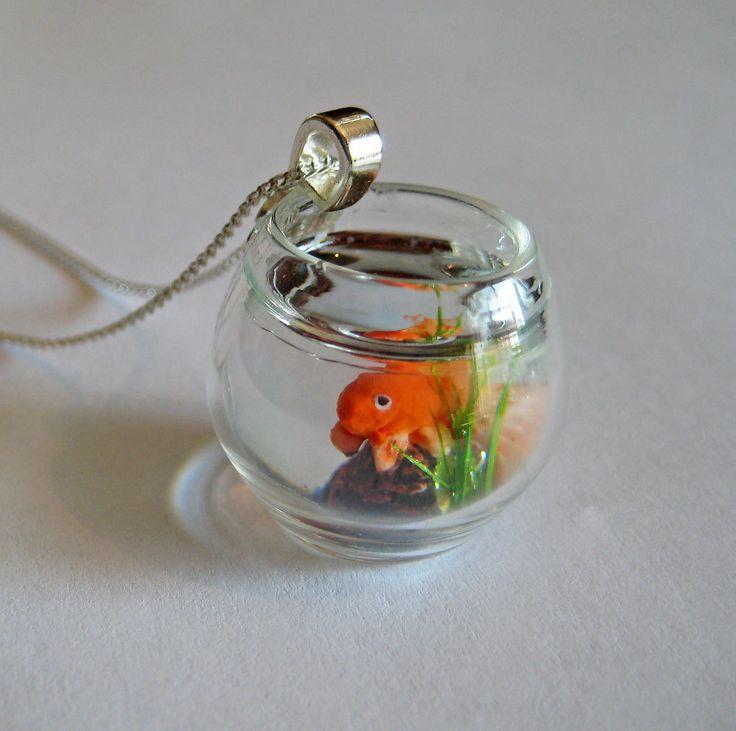 Miniature pet goldfish bowl necklace for Fish bowl pets