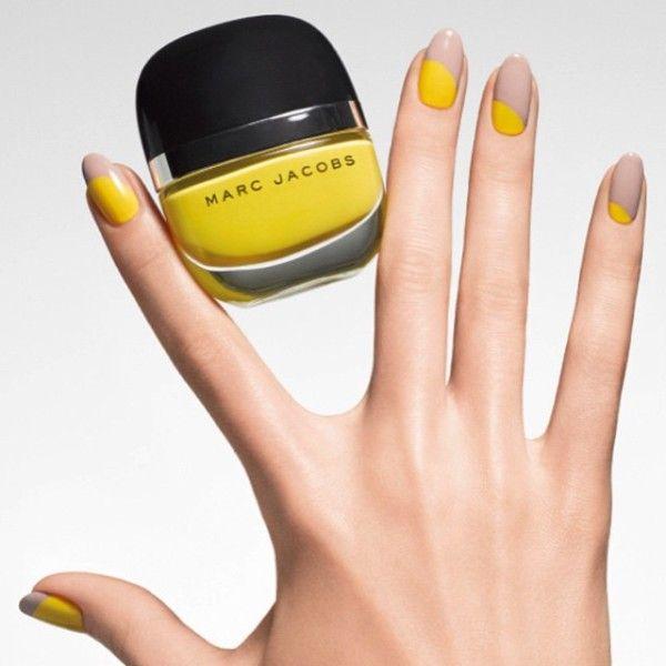 Half yellow half nude nail art