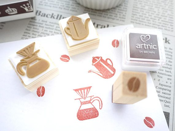 Coffee rubber stamp Rubber stamp set Cafe gift idea – Crafts & DYI