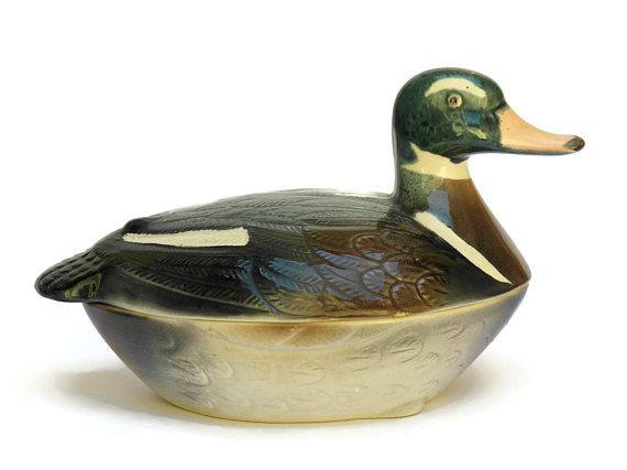 Majolica Duck Tureen. French Rustic Kitchen Decor. Ceramic