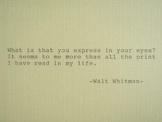 Letterpress Typed Quote Love Poem Walt Whitman by PoetryBoutique, $7.00